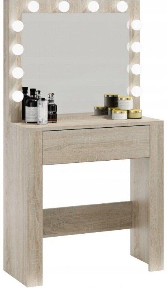 Туалетный столик с зеркалом и подсветкой для макияжа косметический трюмо светлый дуб Bonro В-070