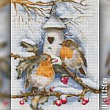 Алмазная вышивка Зимние птицы на ветке 40x50 The Wortex Diamonds (TWD20063L), фото 2