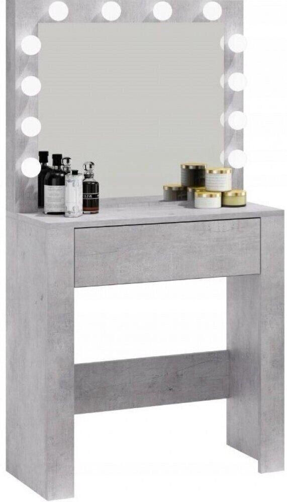 Туалетный столик с зеркалом и подсветкой серый для макияжа косметический трюмо Bonro В-070