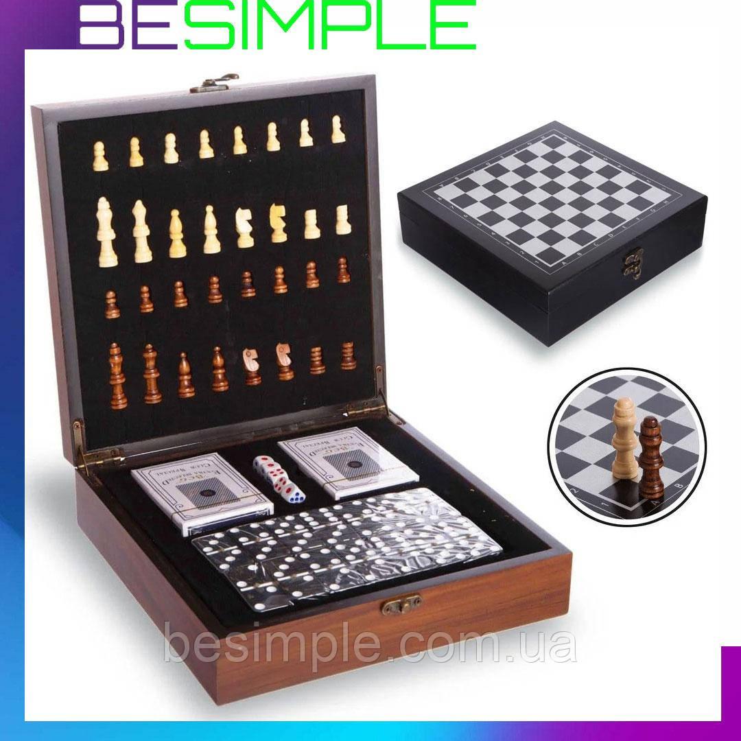 """Шахматы, домино, карты 3 в 1 набор настольных игр деревянный в стиле """"Стаунтон"""""""