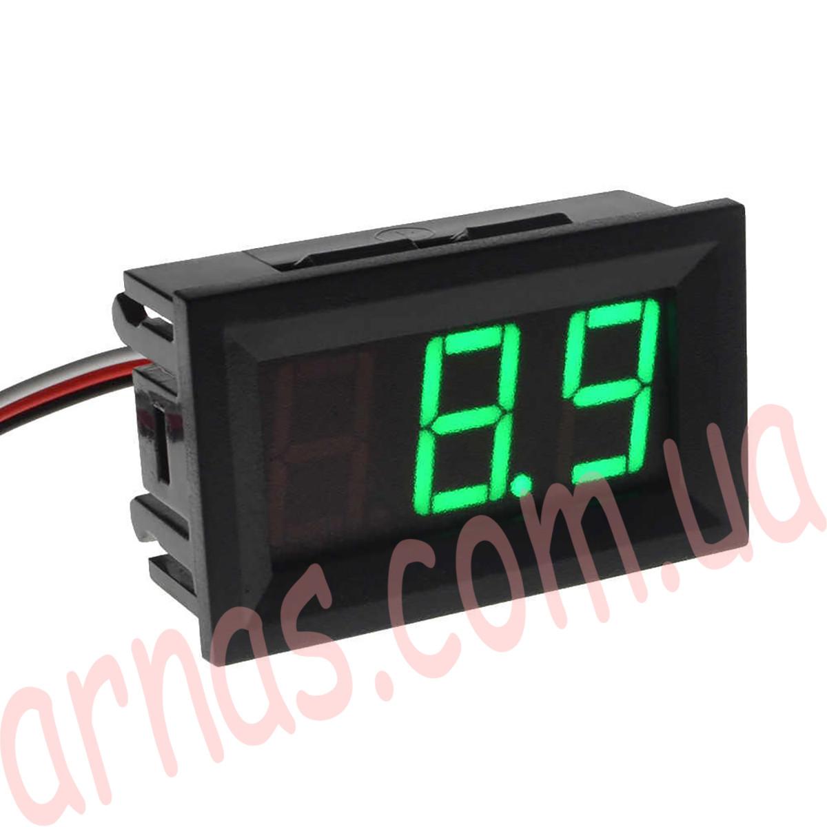 Вольтметр 27014G цифровой 4,5-30V встраиваемый (два провода) Зеленый