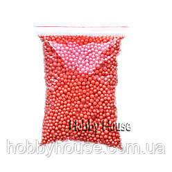Шарики пенопластовые 4-6 мм,1000 мл, Красные для слаймов и декора.