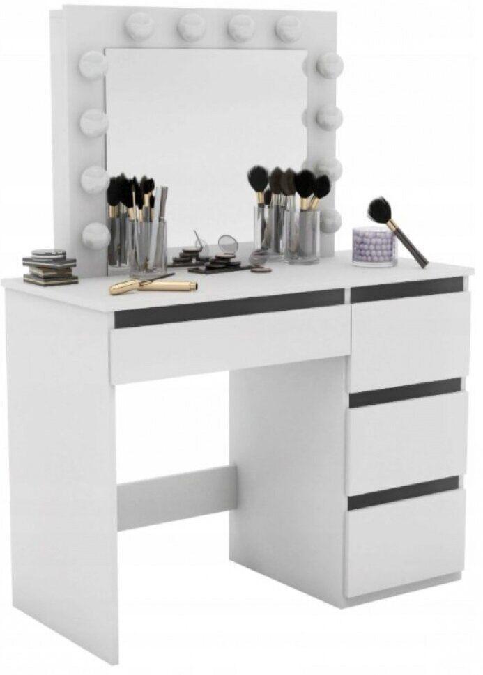 Туалетный столик с зеркалом и подсветкой белый для макияжа косметический трюмо Bonro В-071