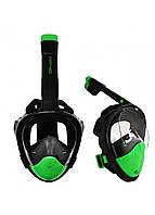 Маска для снорклинга (плавания) SportVida SV-DN0023 Size L/XL Black/Green, фото 1