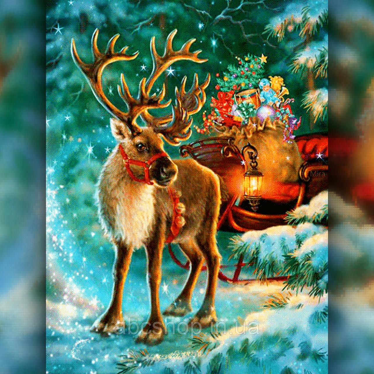 Алмазная вышивка Олень Деда Мороза с санями 30x40 The Wortex Diamonds (TWD70007)