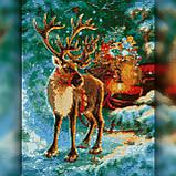 Алмазная вышивка Олень Деда Мороза с санями 30x40 The Wortex Diamonds (TWD70007), фото 2