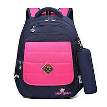 Рюкзак школьный с ортопедической спинкой, светоотражателями и пеналом для девочки 1, 2, 3 класс, портфель