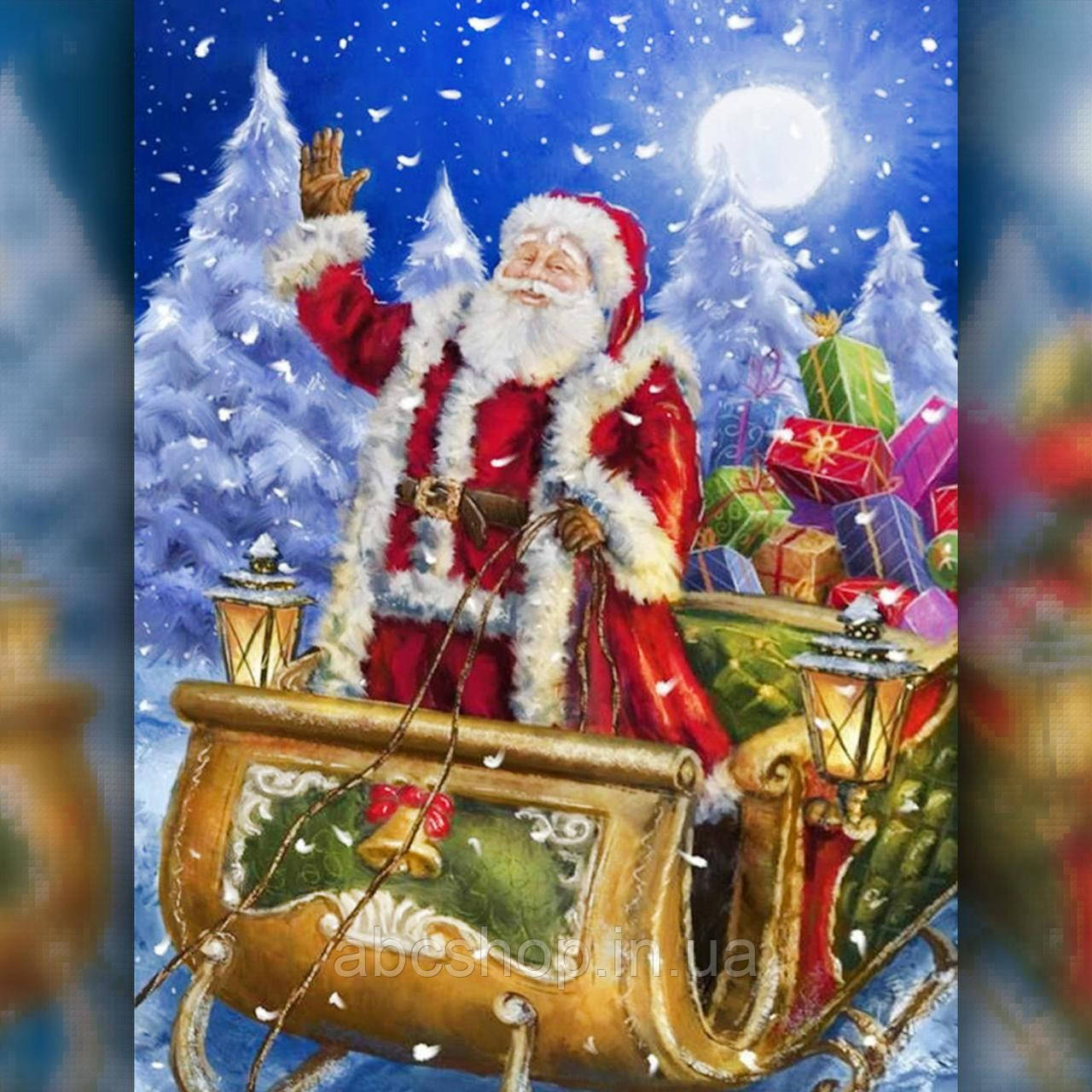 Алмазная вышивка Дед Мороз на санях 40х50 The Wortex Diamonds (TWD70004)