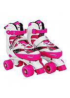 Роликовые коньки (квады) SportVida SV-LG0055 Size 35-38 White/Pink, фото 1