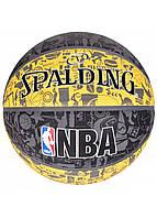 Мяч баскетбольный Spalding NBA Graffiti Outdoor Grey/Yellow Size 7, фото 1