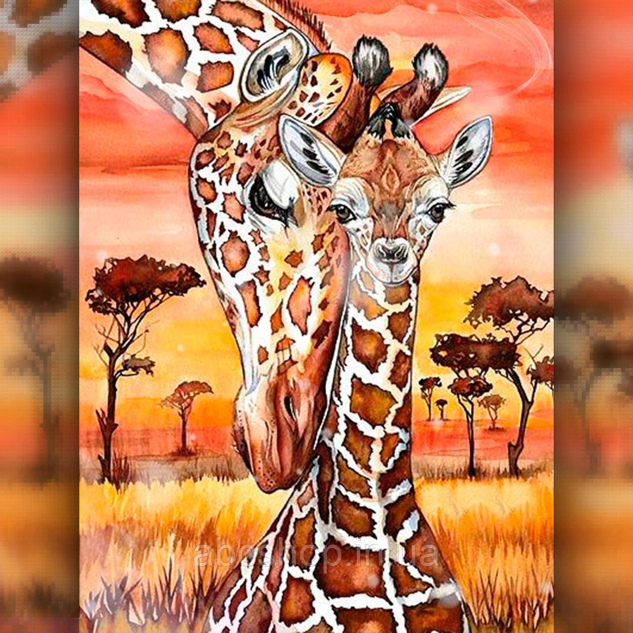 Алмазная вышивка Жирафенок с мамой 40x50 The Wortex Diamonds (TWD50005L)