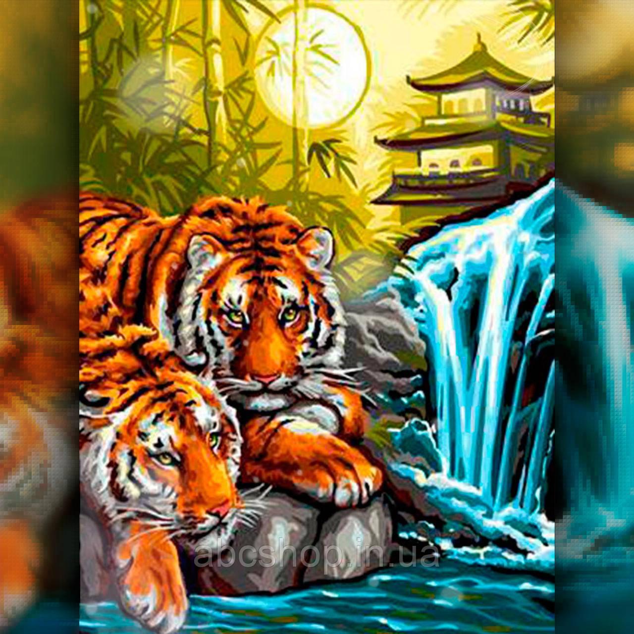 Алмазная вышивка Тигры у водопада 40x50 The Wortex Diamonds (TWD20024L)