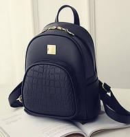 Модный женский мини рюкзак черный. Женский рюкзачок маленький эко кожа змеиный