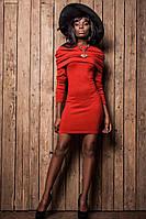 Платье с Ангоры Воротник Хомут Красное S-XL