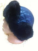 Мужская стильная  ушанка из синей плащёвки и черного меха  кролика