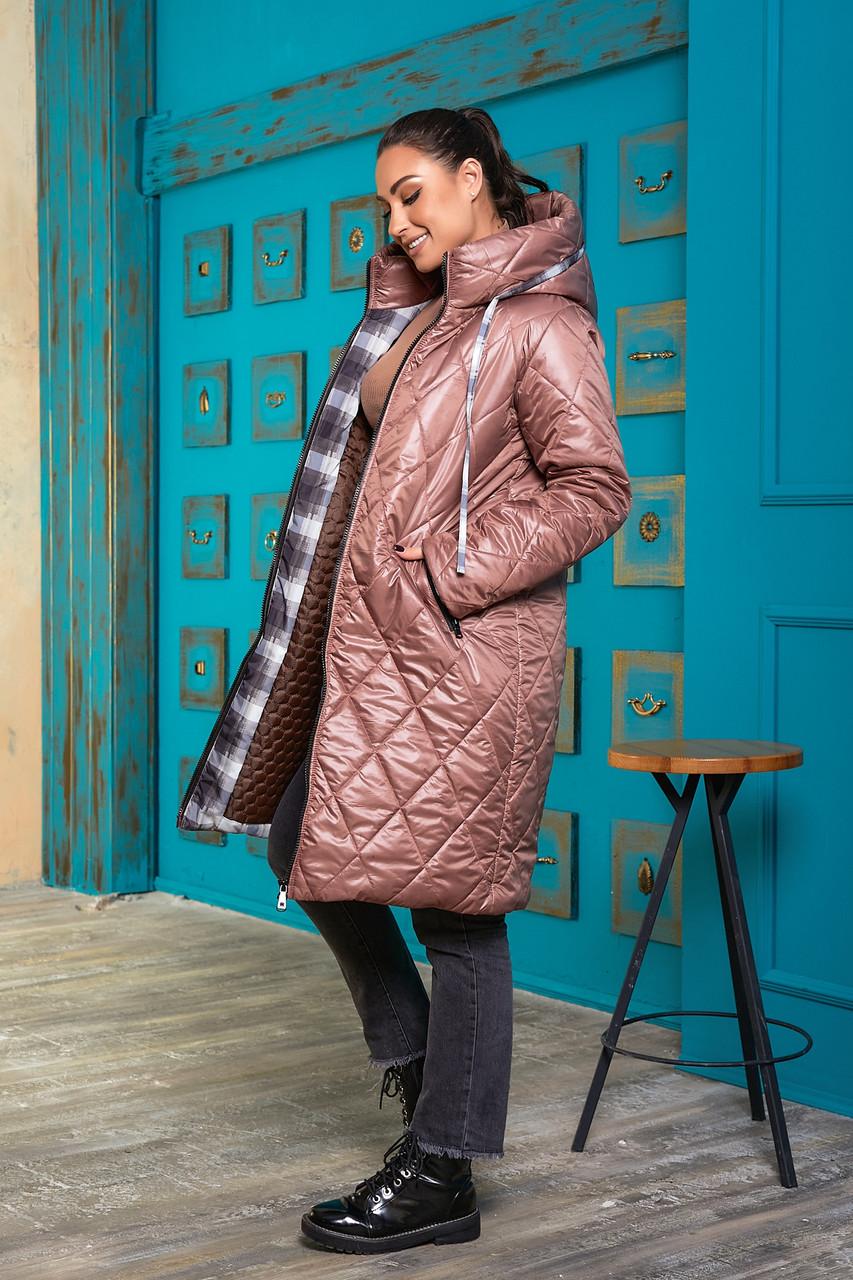 Пальто куртка зимова на синтепоні і овчині, 48-50 52-54
