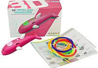 Беспроводная низкотемпературная 3D ручка WM-9903 + трафареты и пластик Pink (14598)