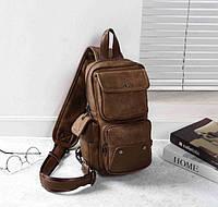 Мужская сумка мессенджер на плечо качественная бананка слинг. Рюкзак кросс-боди коричневая эко кожа