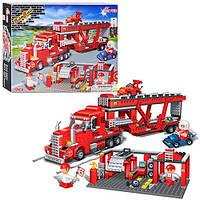 Конструктор для детей BANBAO 8762 трейлер транспорт СТО (660 деталей)