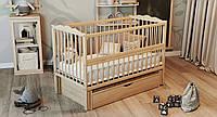 """Детская кроватка ТМ Дубик-М """"Веселка"""" с откидным бортиком и ящиком. Цвет: натуральный, фото 1"""