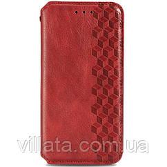 Кожаный чехол книжка GETMAN Cubic (PU) для Oppo Reno 4 Lite Красный