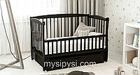 """ТМ Дубик-М """"Еліт"""" дитяче ліжечко з ящиком. Колір: венге, фото 1"""