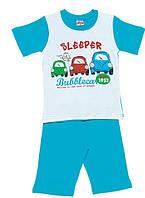 Трикотажная пижама с принтом трёх машинок на мальчиков 1-6 лет
