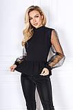 Стильна жіноча комбінована блузка з баскою 35-384, фото 3