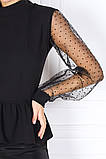 Стильна жіноча комбінована блузка з баскою 35-384, фото 2