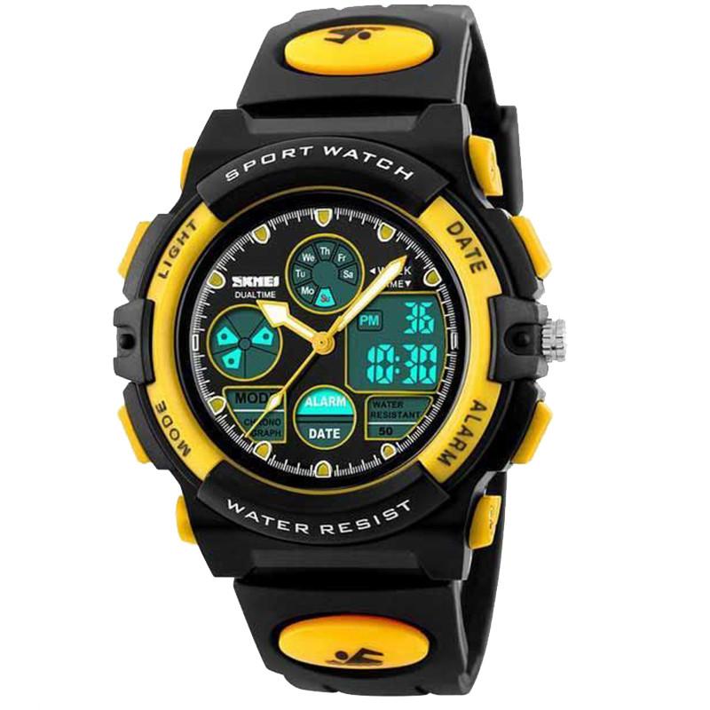 Часы электронные, спортивные Skmei 1163, черный-желтый, в металлическом боксе