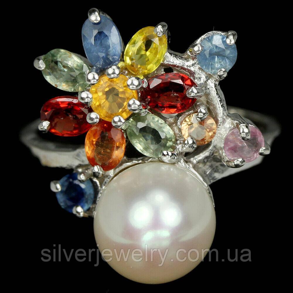 Серебряное кольцо с САПФИРОМ и ЖЕМЧУГОМ (натуральный) серебро 925 пр. Размер 16,75