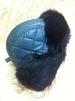 Мужская стильная ушанка из серой плащёвки и черного меха  кролика