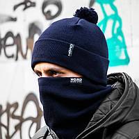 Мужская шапка + бафф темно-синий комплект, фото 1