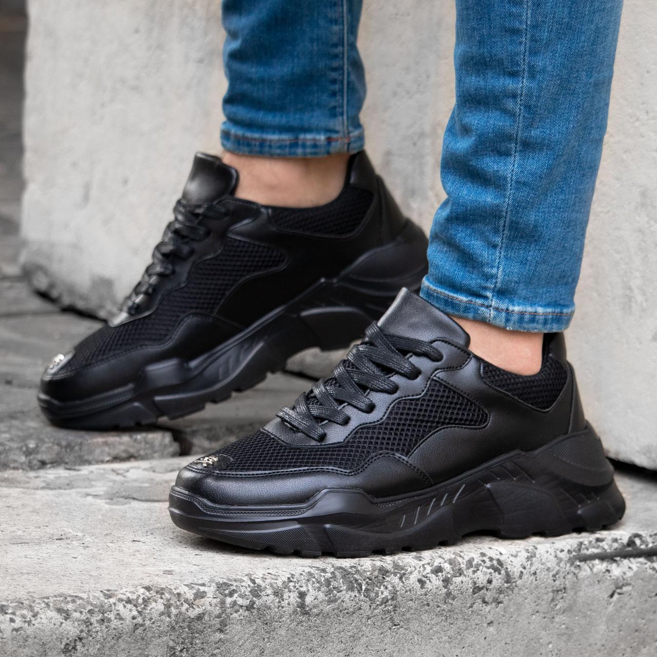Мужские черные кроссовки в стиле Phillip Plein обувь мужская демисезонная обувь Размер 43,44