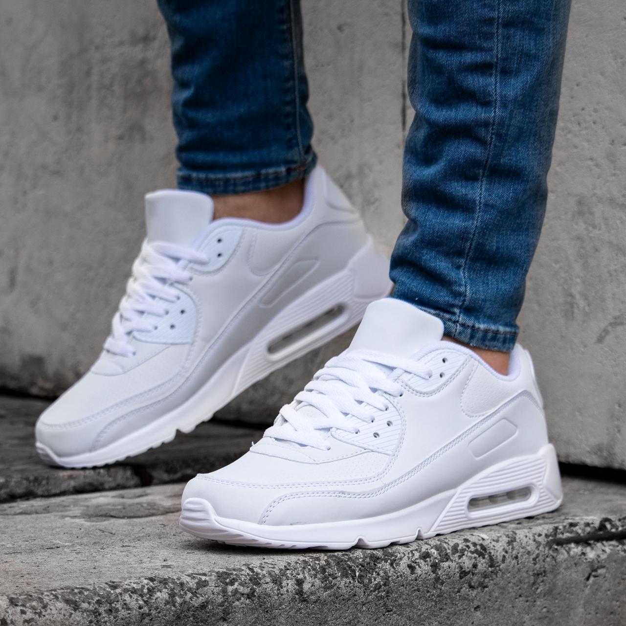 Мужские белые кроссовки в стиле Nike Air Max 90 обувь мужская демисезонная Размеры 40,41,42,43,44,45
