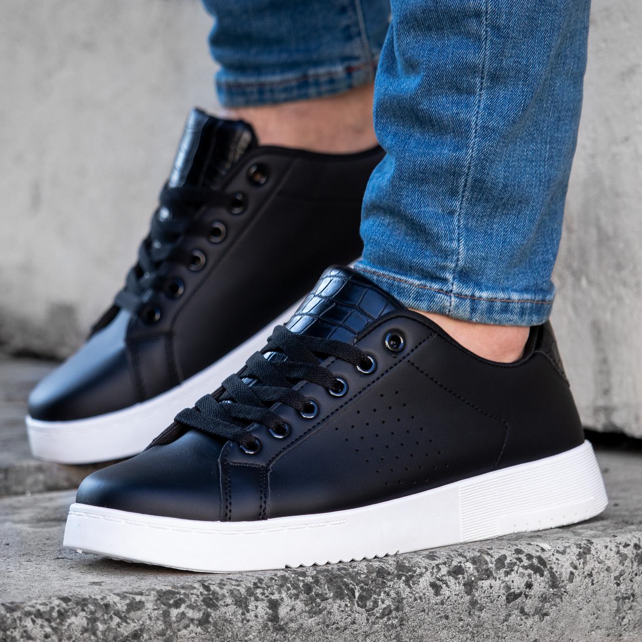 Мужские черные повседневные кроссовки классические на белой подошве Размеры 40,44