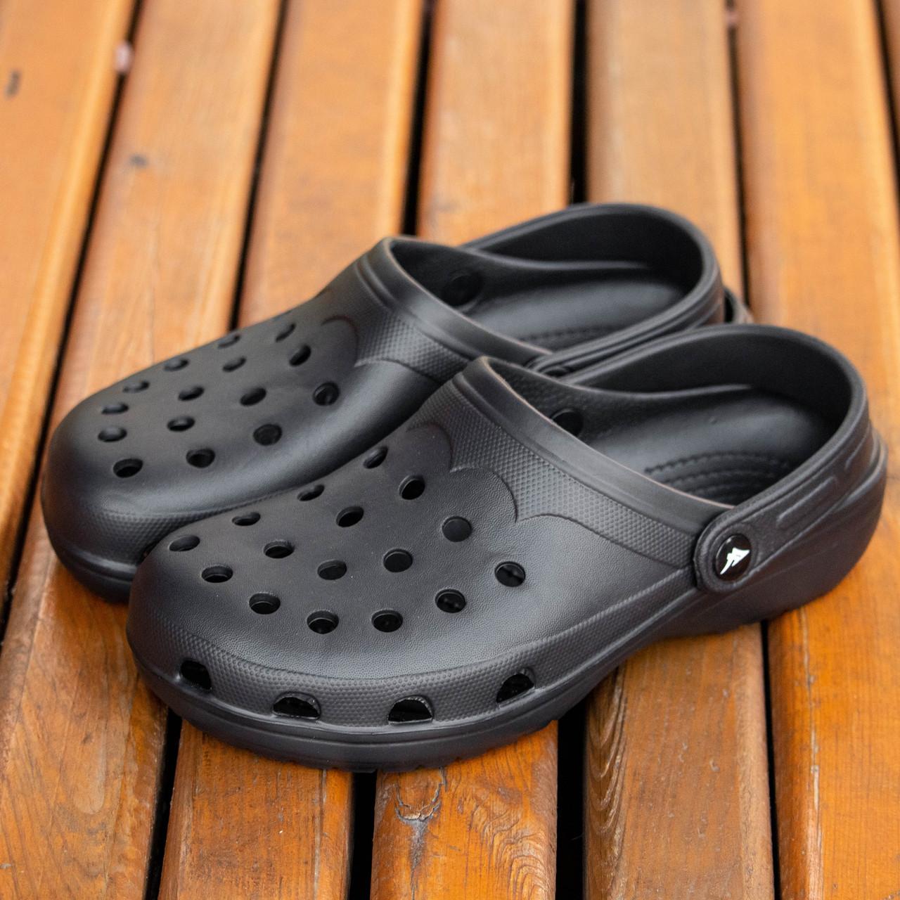 Мужские тапочки в стиле CROCS цвет черный кроксы шлепки