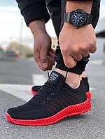 Мужские текстильные черные летние кроссовки сетка, фото 1