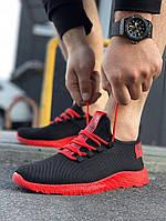 Мужские черные кроссовки на красной подошве Размеры 45,46, фото 1