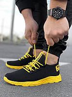 Мужские черные кроссовки на желтой подошве Размеры 45, фото 1