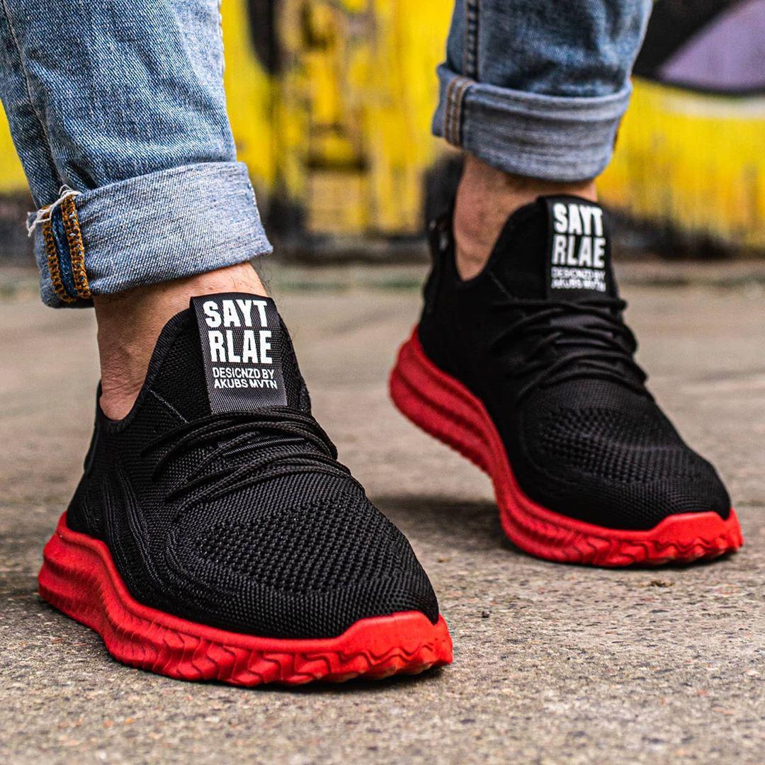 Мужские кроссовки сетка черно-красные Размеры 45,46