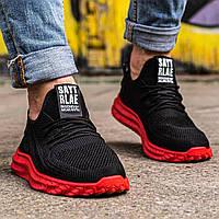 Мужские кроссовки сетка черно-красные Размеры 45,46, фото 1