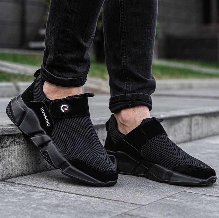Мужские стильные черные кроссовки без шнурков Размеры 43,44,45