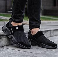 Мужские стильные черные кроссовки без шнурков Размеры 43,44,45, фото 1