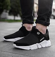 Мужские кроссовки без шнурков черные на белой подошве Размеры 42,44, фото 1
