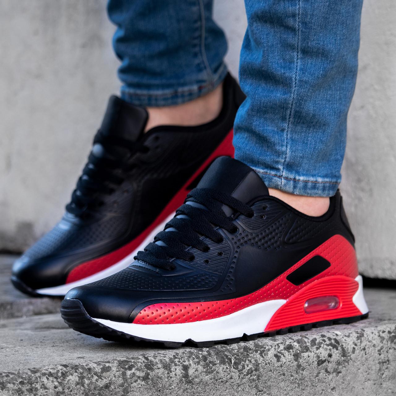 Кроссовки мужские в стиле Nike Air Max черно красные на белой подошве Размеры 45,46