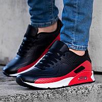 Кроссовки мужские в стиле Nike Air Max черно красные на белой подошве Размеры 45,46, фото 1