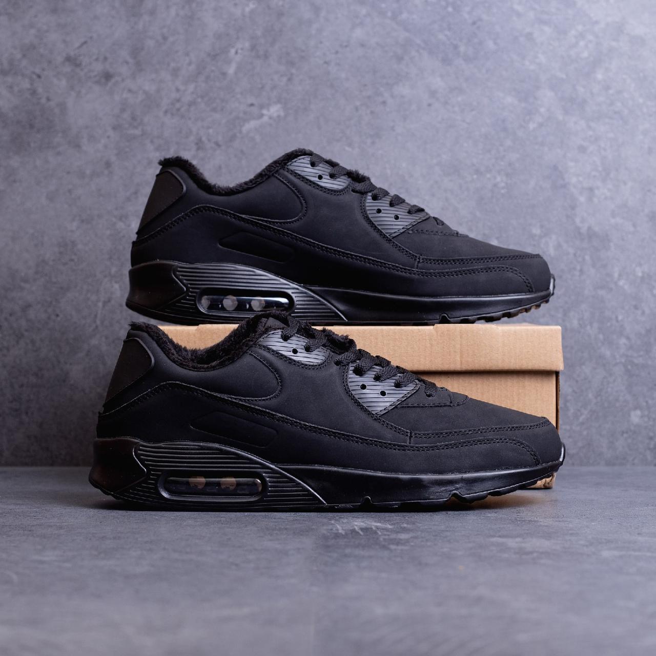 Мужские Зимние Черные Кроссовки в стиле Air Max обувь с Мехом Размеры 43,44,45