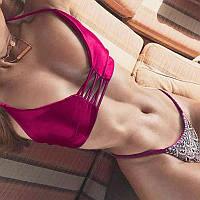 Бордовый купальник с кружевом и красивой спинкой