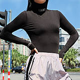 Женская базовый гольф с модными надписями на воротнике и  рукавах, фото 2